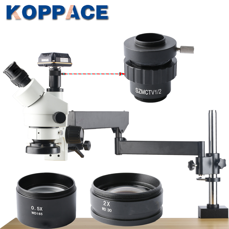 KOPPACE 10MP USB 3.0 appareil photo numérique trinoculaire stéréo Zoom Microscope 3.5X-90X grossissement téléphone portable réparation microscope