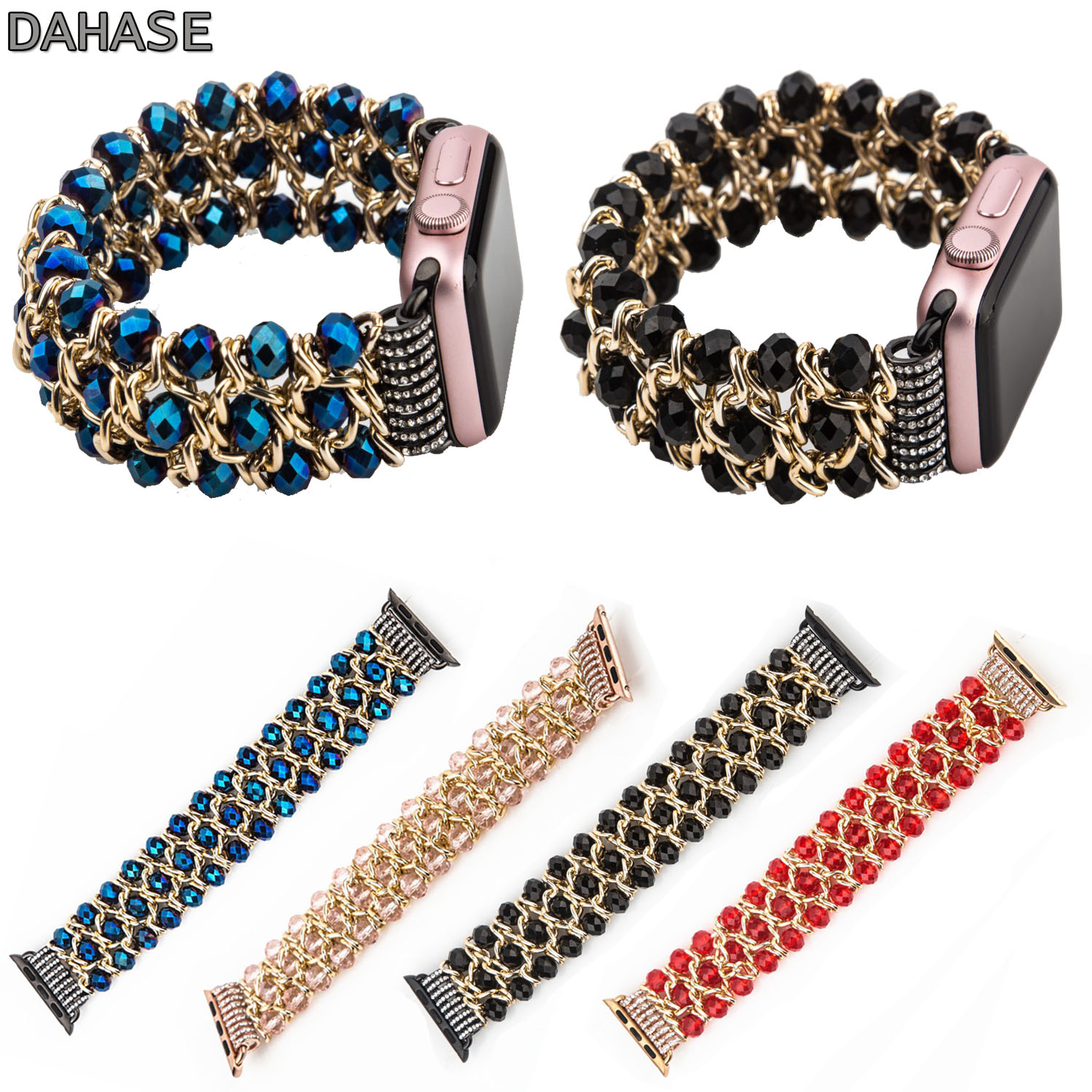 DAHASE Bling Beads Chain Stretch Bracelet for Apple Watch Band 38mm 42mm Strap for iWatch Series 1/2/3 Metal Jewelry Wristband dahase stainless steel link chain strap for apple watch series 3 band 42mm 38mm bracelet for iwatch series 1 2 3 metal wristband