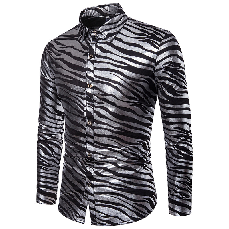 87e78046495 Fashion Men Slim Fit Long Sleeve Shiny Shirt Red White Black Striped Casual  Business Shirt Tops Plus Size S XXL Camisa Masculina-in Casual Shirts from  Men s ...