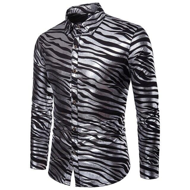 85a8088c52d Fashion Men Slim Fit Long Sleeve Shiny Shirt Red White Black Striped Casual  Business Shirt Tops