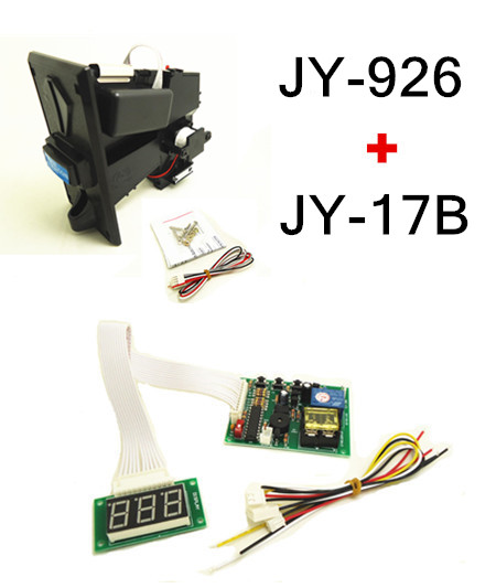 1 KIT of JY-926+JY-17B coin acceptor with timer board coin operated time control device for cafe kiosk for 1-6 kinds of coins small condoms vending machine with coins acceptor with 5 choices