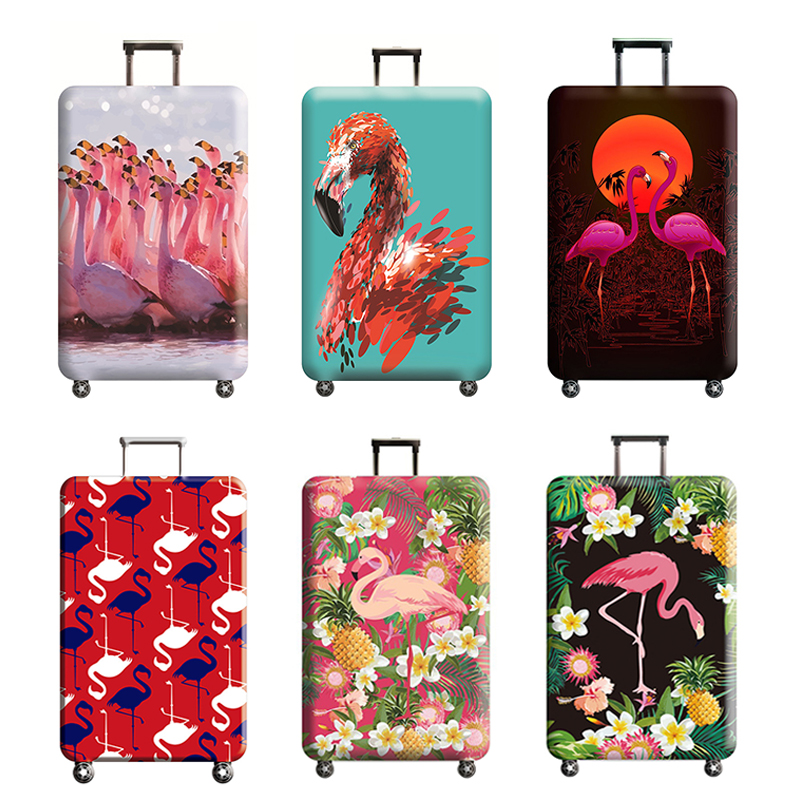 Travel accessories Luggage cover Flamingos pattern Suitcase protection baggage dust cover Trunk set Trolley case Elasticity стоимость