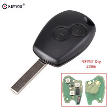 KEYYOU 2 Buttons Remote Control Key Keyless Entry Fob 433MHz with PCF7947 Chip for Renault Clio Kangoo Master Modus Twingo(China)