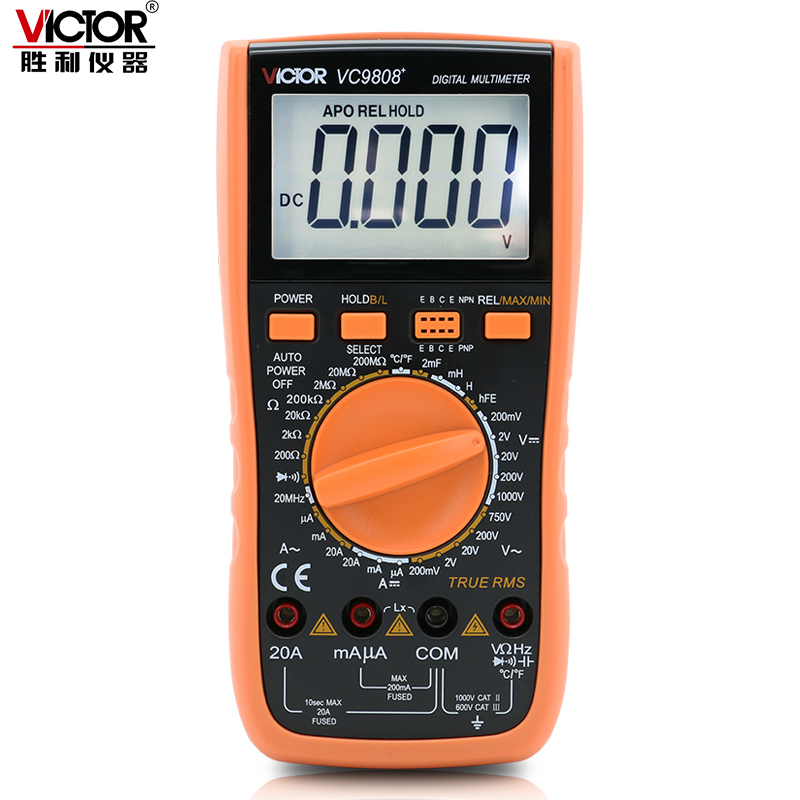 VICTOR VC9808 + 3 1/2 multimetro Digitale Tester Elettrico amperometro 20A voltmetro Induttanza tester di Frequenza DCV ACV/DCA/R /C/L/F