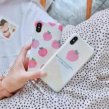 Summer Fruit Peach Funda for iphone 7 Case Blue light IMD Phone 6 6S 8 Plus X XR XS Max Cover Luxury Capa