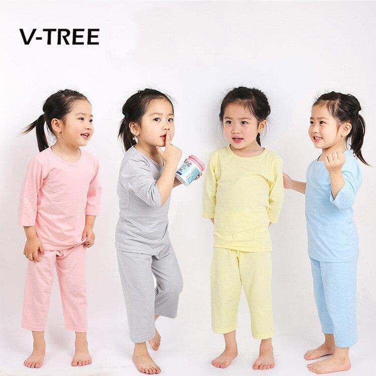 V-TREE Boys Girls Pajamas Sets Cotton Pure Color Pyjamas Kids Pajama Infantil Sleepwear Home Clothing Baby Pajama 2-10T