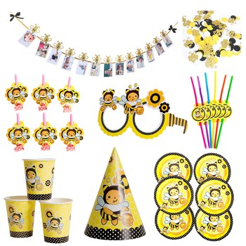 Cartoon Bumble Bee Theme Party Decor Disposable Tableware Paper Plate Hat Cup Flag Banner for Kids Birthday Party Decoration Sup