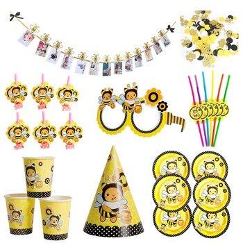Desenhos animados bumble abelha festa decoração de louça descartável placa de papel chapéu copo bandeira para crianças aniversário festa decoração suprimentos