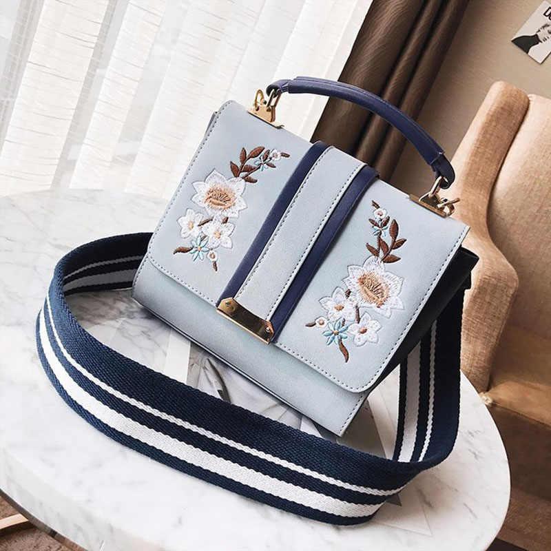 Женская Новинка 2018, модная классическая элегантная сумка с цветочной вышивкой, сумка на ремне, модные вечерние сумки-мессенджеры