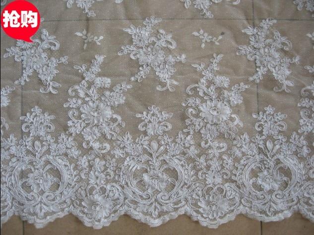 material de encaje blanco apagado de la boda/iovry, tela del bordado