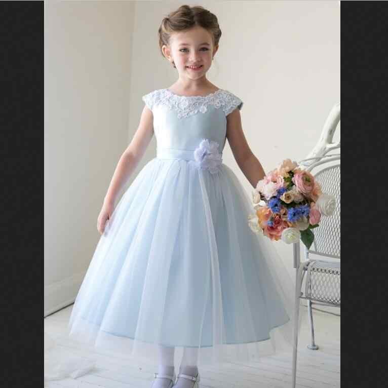 Nouvelles robes de fille de fleur avec des manches de capuchon de fleur de haute qualité fête de balle Pageant Communion filles enfants robe pour mariage