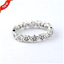 Compatible con estilo europeo joyería 100% anillos de plata esterlina 925 starshine, Clear CZ Original auténtica moda venta al por mayor