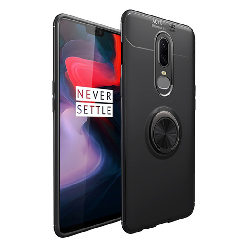 MAKAVO For Oneplus 6 Case Finger Ring Holder Soft Matte Silicone Back Cover For One Plus 6 6T Phone Case Oneplus6 Skin Housing