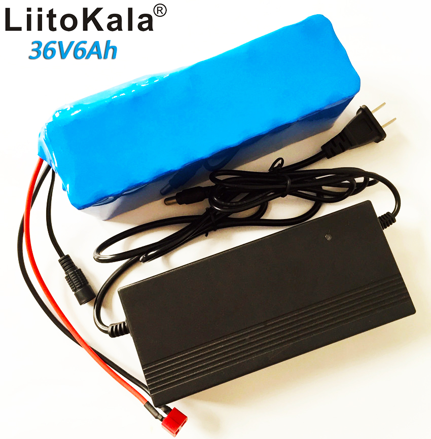 LiitoKala 36v6ah electric bicycle lithium ion battery 18650 6000mAh 10S3P large capacity battery pack bms 500W with 2A charger 24v 10 ah 6s5p 18650 battery lithium battery 24 v electric bicycle moped electric li ion battery pack