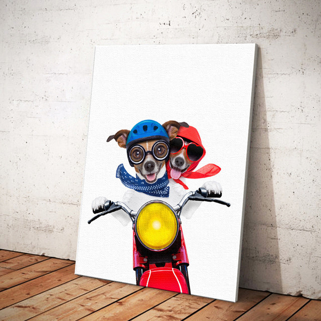 Pop Art Poster Indoor Dog Riding Motorcycle Fashion Quotation Wallpaper Picture Frame Painting Decorative