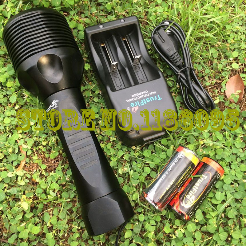 лучшая цена DHL 2016 Hot TrustFire TR-DF005 Diving Flashlight 2800LM 5-CREE XM-L2 3-mode White DF005 Diving Flashlight - Black (2 x 26650)