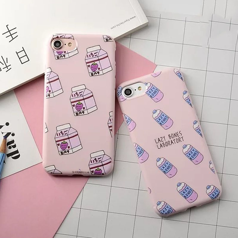 Colorful Korea Milk Bottle Iphone 6 6S Plus 7 7 Plus Phone Cases Soft Cute Strawberry Drink Cover