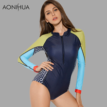 AONIHUA 2018 Front zipper Rash Guards Women One-Piece Swimsuit Patchwork Long sleeve Swimwear Push up swimming Suit 9013