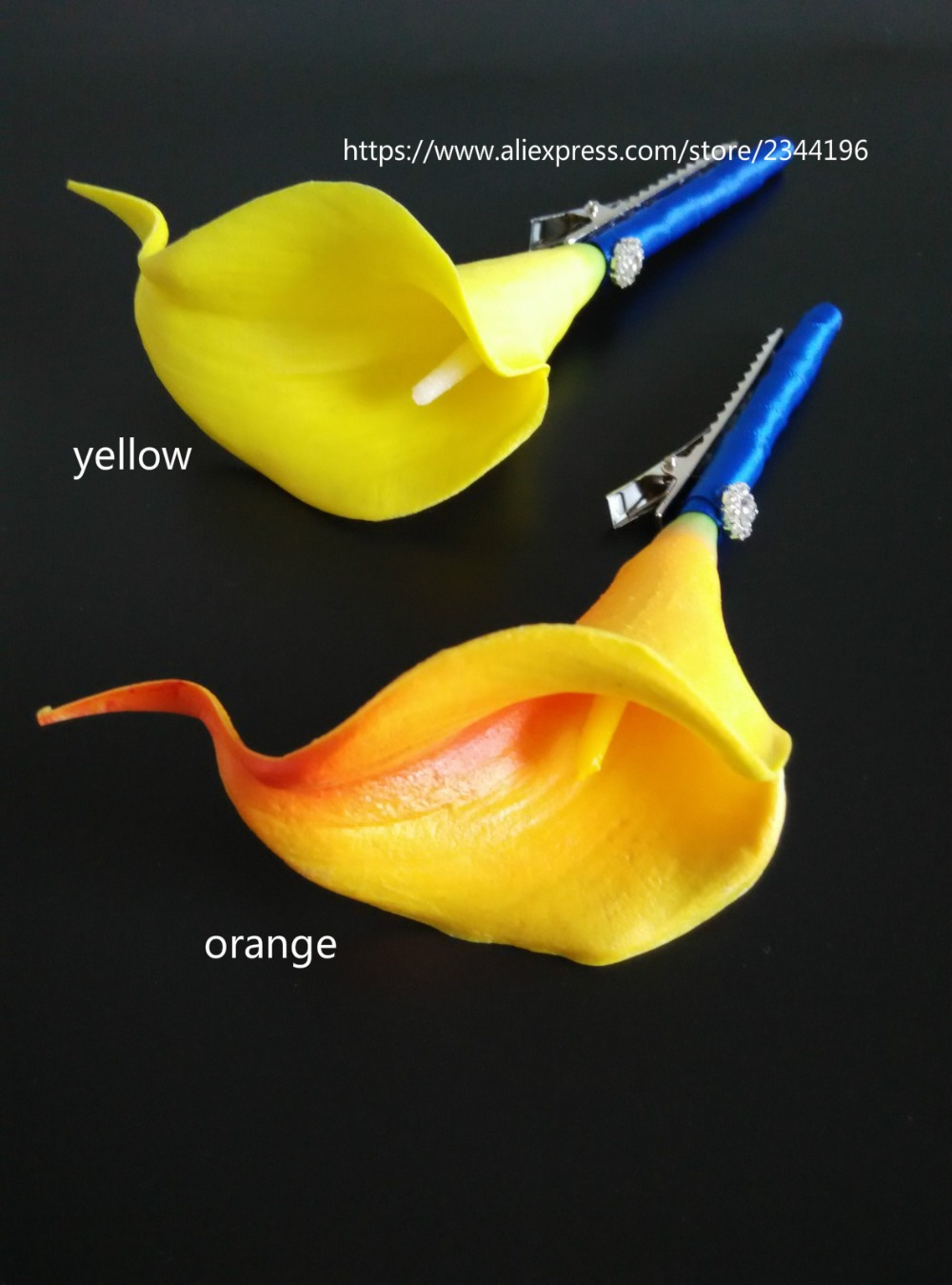 wedding party men's boutonnieres,yellow orange calla lily with ribbon crystal,real touch boutonniere for groom bestmen