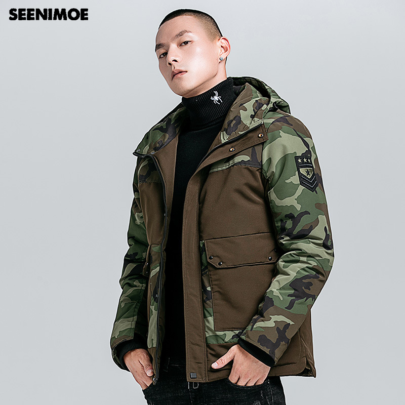 US $47.03 52% OFF|Seenimoe 2019 New Military Windproof Winter Jacket Men Winter Parkas Man Hooded Thicken M 4XL Camouflage Mens Casual Warm Coat in