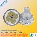 10 pçs/lote dimmable lampada levou 9 W 12 W 15 W conduziu a lâmpada MR16 12 V lâmpadas led 2 anos garantia frete grátis