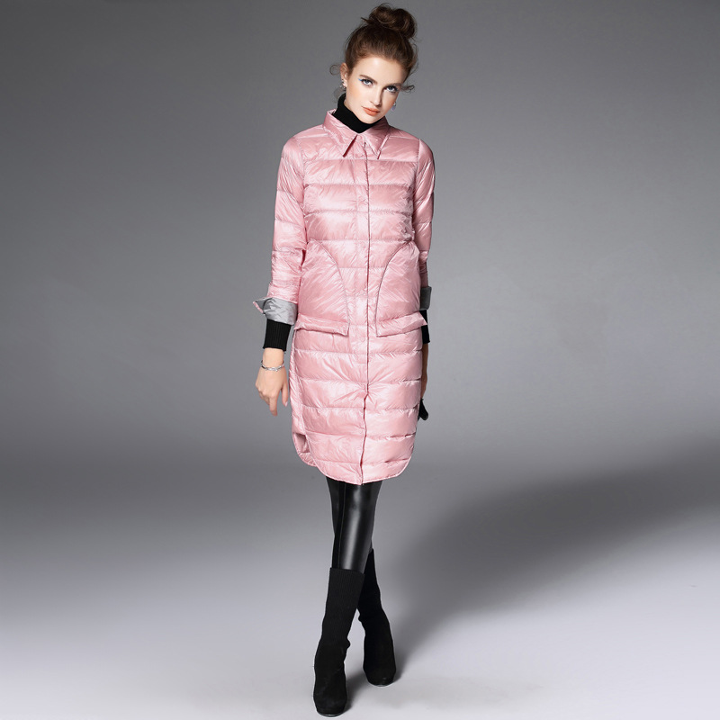 Turn down Collar Splicing Cotton Full Length Down Parkas Winter Jacket Women Manteau Femme Abrigos Mujer