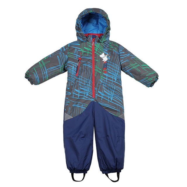 Boys Girl winter waterproof snowsuit  2017 Moomin New Single Breasted Hooded winter Cotton romper green Baby Boys winter clothes