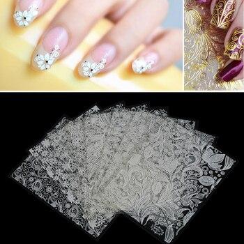 8 sztuk/zestaw 3D złoty/srebrny kolorowy kwiat zestaw do stylizacji paznokci naklejki naklejka DIY Manicure brokat wystrój makijaż narzędzia