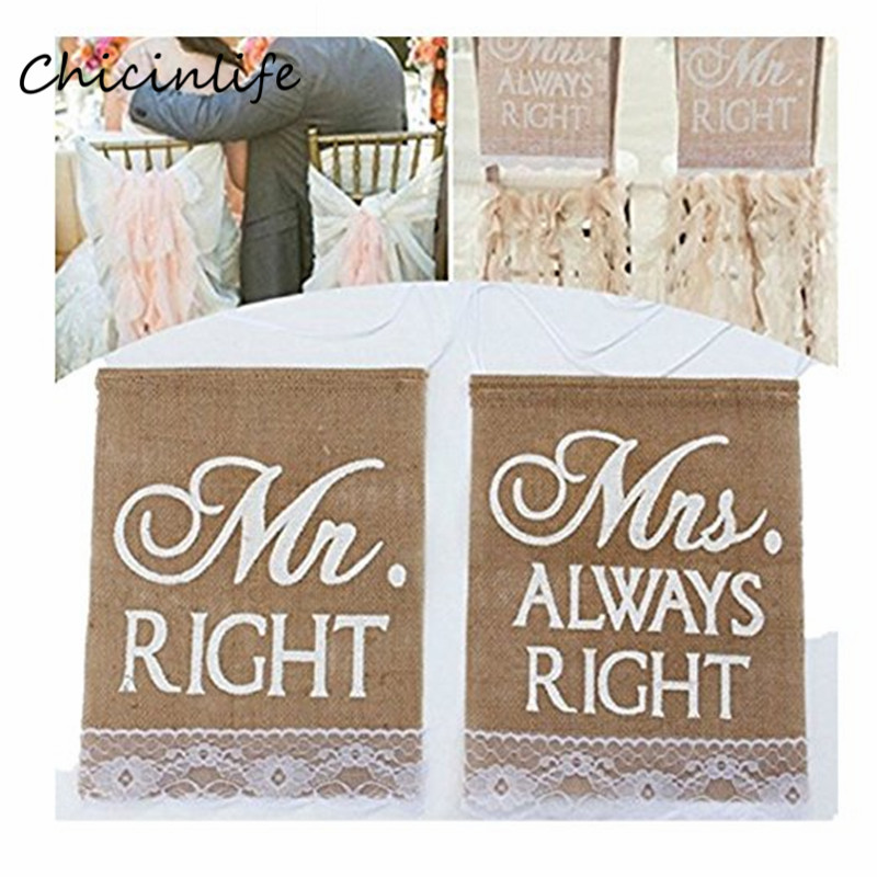 Chicinlife 1set Mr right Mrs alway right Chair Flag Hanging Decor Photo props Wedding Party Decoration bridal shower supplies