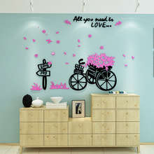 Nordic style Ins  Love bicycle DIY Childrens room bedroom living TV background wall decoration 3D acrylic stickers