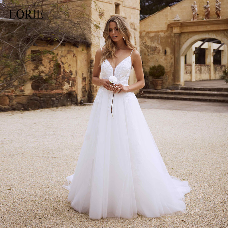 LORIE Lace Wedding Dresses 2019 Spaghetti Straps Appliques A Line Bride Dress Princess Wedding Gown Backless