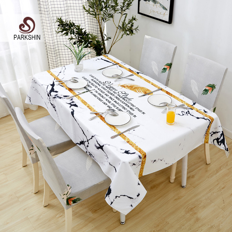 Parkshin New Wholesale Nordic Waterproof Tablecloth Home Kitchen Rectangle Table Cloths Party Banquet Dining Table Cover 4 Size-in Tablecloths from Home & Garden