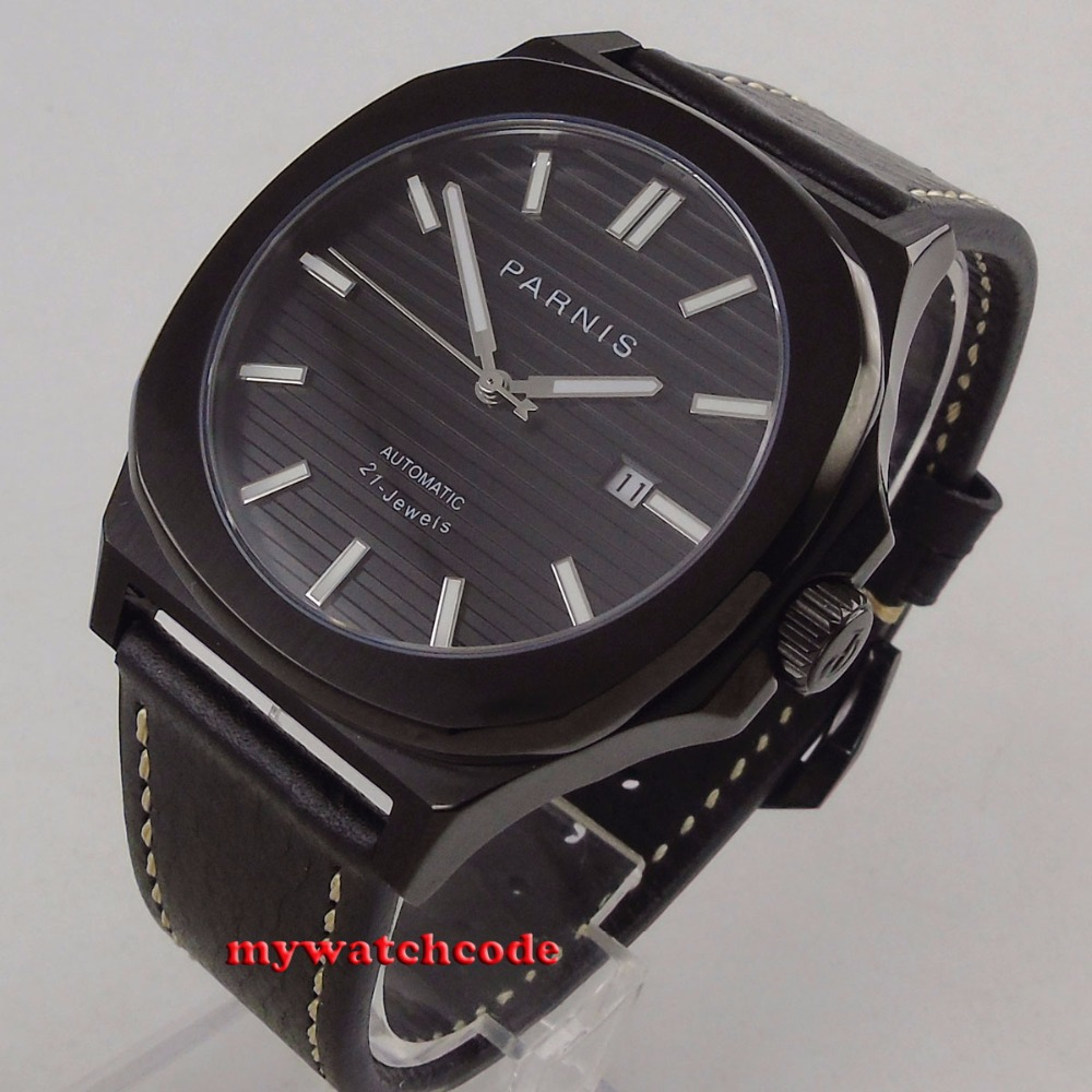 44MM parnis black dial date widnow luminous black PVD case miyota 821A automatic movement mens watch цена и фото