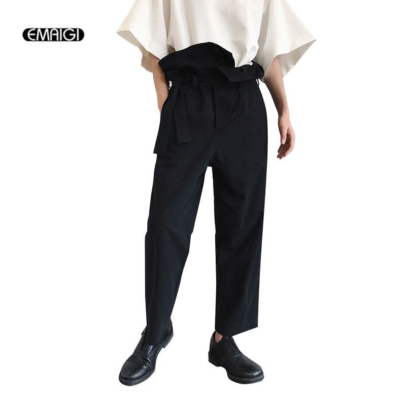 男性ハイウエスト緩いカジュアルパンツ日本スタイルレトロファッション男性女性ストレートharemtrousers  グループ上の メンズ服 からの カジュアル パンツ の中 1