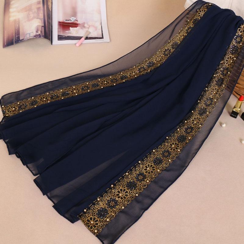 Muslim Headscarf 180*85cm Arabian Women Golden Pearl Lace Hijabs Head Wraps Lady Turkish Party Wedding Hijab Scarf YW61