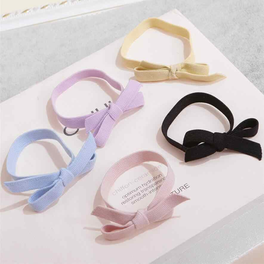 9 colors Solid Plain Color elastic rubber band women Girls Bow Hair Ties Elastic Bands Kids hair Accessories Fishion Headband