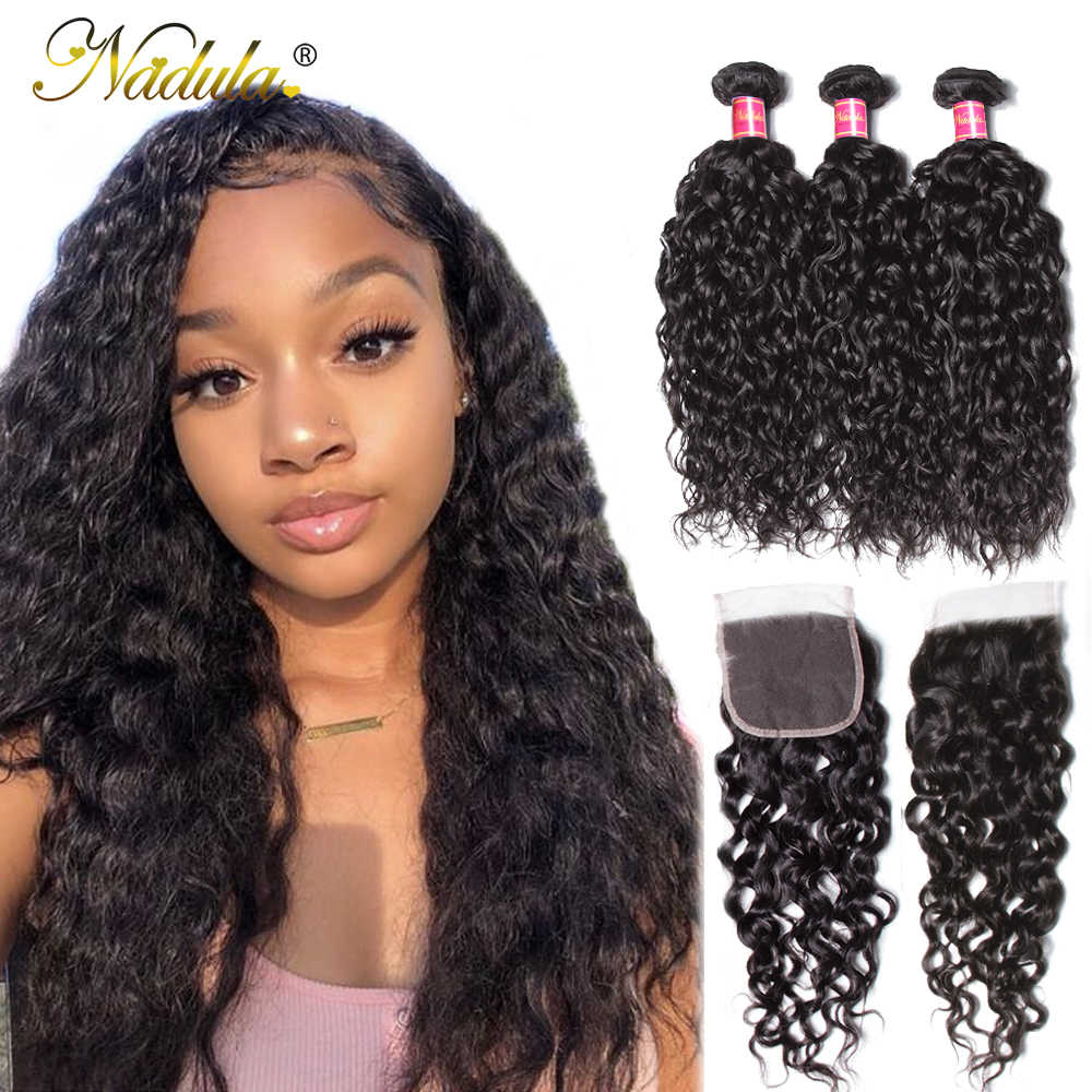 Nadula Hair Brazilian Hair Water Wave Bundles With Closure 3 Bundles With Lace Closure Human Hair Weave Bundles With Closure