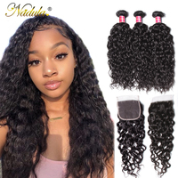 Nadula Hair Brazilian Hair Water Wave Bundles With Closure 3 Bundles With Lace Closure Human Hair Weave Bundles With Closure