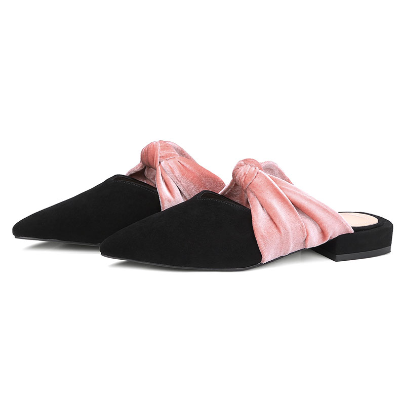 Slingback Mocassins Femme Daim Black Plat Noir Femmes En Bowtie Chaussures Mélangés Pointu sur d'été Occasionnel Slip Printemps Mules Fanyuan Lady qavpzv