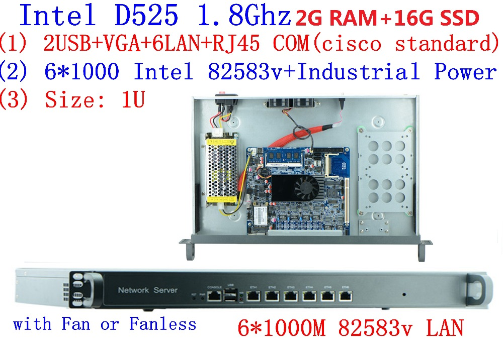 D525 1.8Ghz With Intel PCI E 1000M 6*82583v 1U Server Ros Hirouters Wayos For Ros Panabit Hirouters M0n0wall Firewall Server