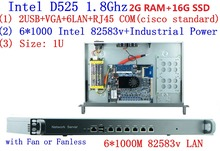 D525 1.8Ghz with PCI-E 1000M 6*82583v 1U server Ros hirouters Wayos for ros panabit hirouters firewall server RAM 2G 16G SSD