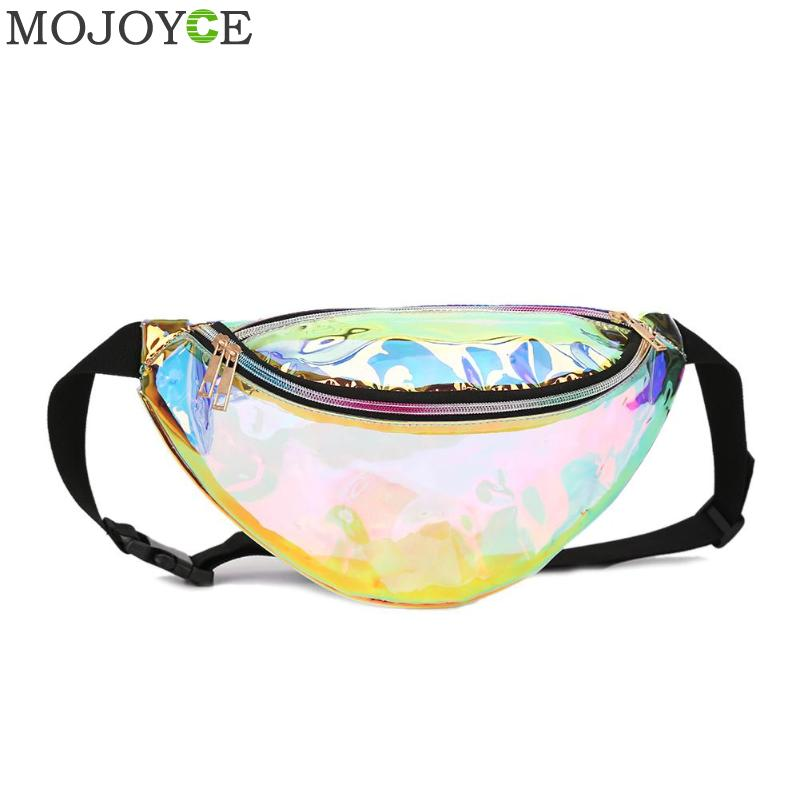 d52cdc2592db US Punk Women Girl Rainbow PVC Laser Transparent Fanny Pack Bum ...