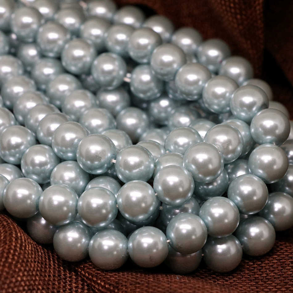 Wholesale light sky blue imitation round shell pearl beads 4-14mm pick size factory outlet fashion jewelry making 15inch B1606