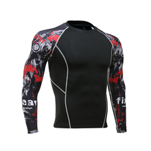 Mens Fitness Crossfit Brand Compression Long Sleeve T-Shirt Latest 3D Wolf Head Print