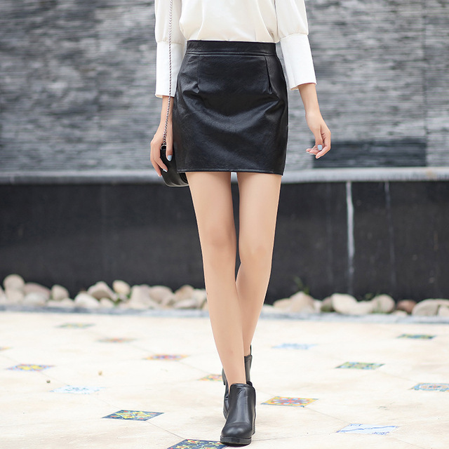 d51f53e45 Winter Women High Waist Slim Skirt PU Faux Leather Short Skirts Sexy Pencil  Bodycon Female Mini Skirt Trendy Office Ladies Black-in Skirts from Women's  ...