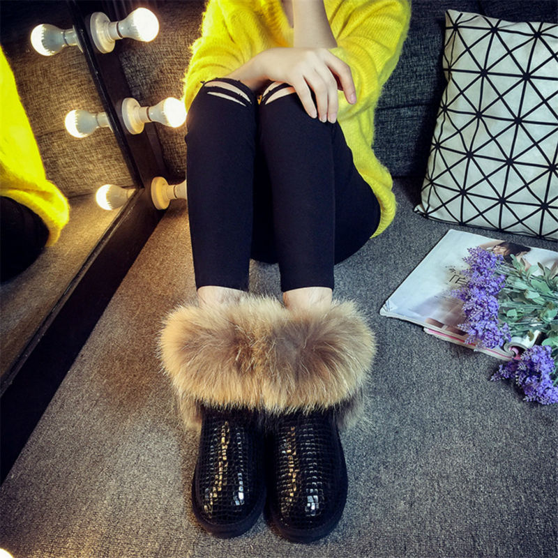 CUWHF 2018 New Arrival Genuine Leather Woman Snow Boots Natural Real Fur Warm Shoes Women's Shoes Snow Boots Winter Warm Shoes