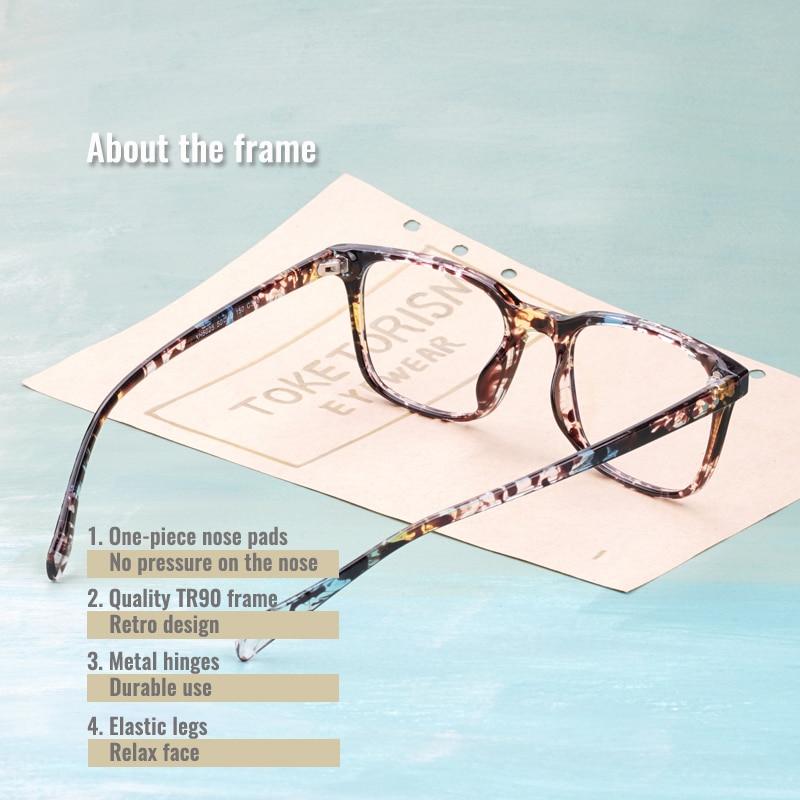 Toketorism tr90 glasses retro eyewear blue light lenses for computer lightweight spectacle frames woman man 5205 in Women 39 s Eyewear Frames from Apparel Accessories