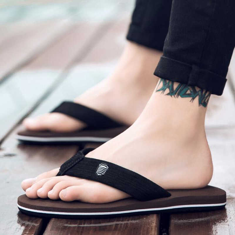 9de70a766d9e ... 2018 Simple Men s Beach Shoes Summer 5 Colors Casual Non-Slip Males  Slippers Plus Size ...