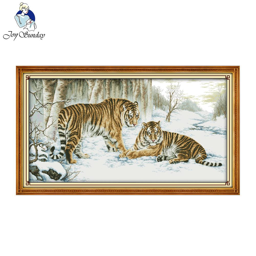 Joy Sunday Tiger Cross Stitch Painting Patterns Needlework Embroidery Stamped Counted Easy Cross Stitch Design DIY