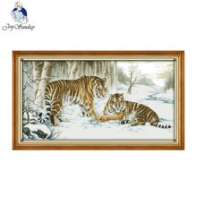 Joy Sunday Tiger Cross Stitch Painting Patterns Needlework Embroidery Stamped Counted Easy Cross Stitch Design DIY Home Decor